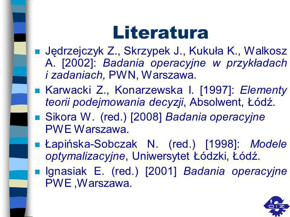 Literatura Jędrzejczyk Z., Skrzypek J., Kukuła K., Walkosz A. [2002]: Badania operacyjne w przykładach i zadaniach, PWN, Warszawa.